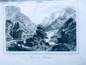 FILLEFIELD NORGE 1841 ANTIK ETSNING PLANSCH LE BAS