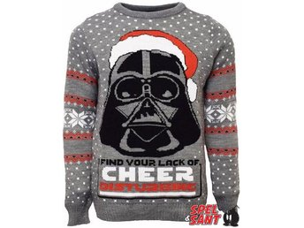 Star Wars Official Darth Vader Grå Jultröja (Medium)