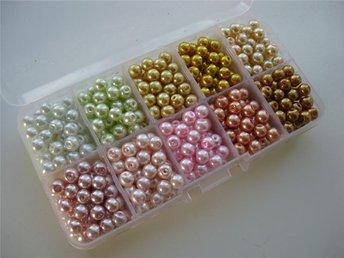 Box med mixade 6 mm glaspärlor i olika färger - Ellös - Box med mixade 6 mm glaspärlor i olika färger - Ellös