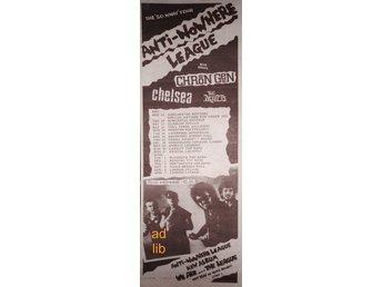 ANTI-NOWHERE LEAGUE MORE GUESTS, UK TOUR, TIDNINGSANNONS 1982 - öckerö - ANTI-NOWHERE LEAGUE MORE GUESTS, UK TOUR, TIDNINGSANNONS 1982 - öckerö