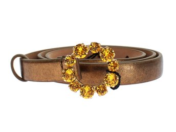 Dolce & Gabbana - Gold Leather Yellow Crystals Buckle Belt