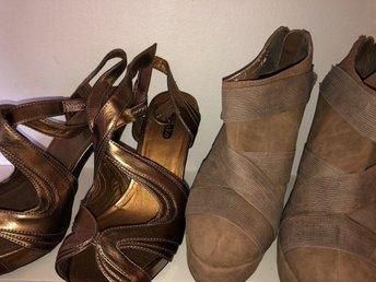 2 par snygga högklackade skor kilklack stl 38