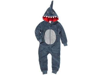 Animal Crazy Boys Scary Shark Onesey Onezi Fleece Hooded Novelty Jumpsuit Grey