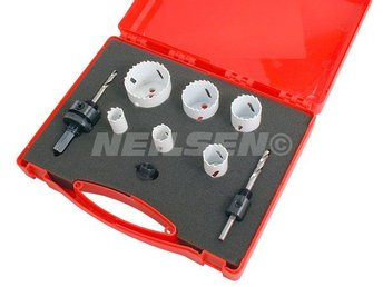 9pc Electricians Bi-Metal Hole Saw Kit 18mm to 51mm