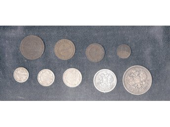 Ryssland Rare Empire Russia 5 silver and 4 copper coins 1896-1913, c148 nghfb