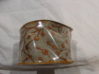 Wired Edge Ribbon - Orange glitter/beige - 6,3 cm bred x 4,57 m  långt