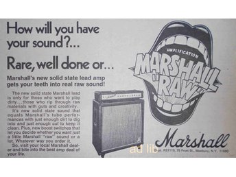 MARSHALL AMPS - NEW SOLID STATE MARSHALL RAW, TIDNINGSANNONS 1975