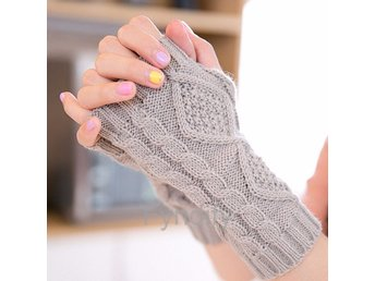 Fingerless Knitted Long Gloves Ljusgrå 19cm