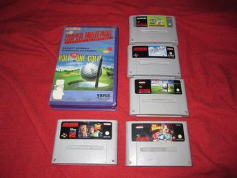 Super nintendo spel / snes / toy story,pilotwings,hole in one med hyrfodral m.m