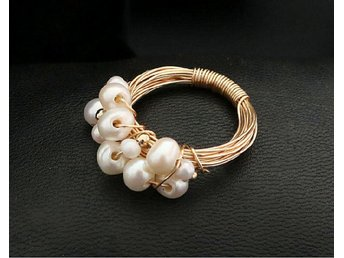 Gorgeous Exquisite Genuine Natural Pearls Ring In 14K Yellow Gold Plated MR0008