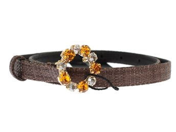 Dolce & Gabbana - Brown Straw Leather Crystal Buckle Belt