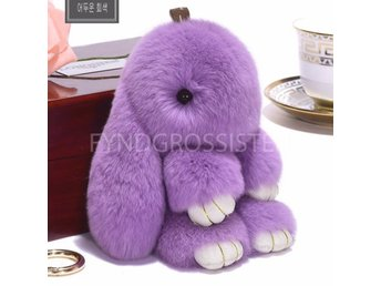 Fluffy Big Bunny Faux Rabbit Fur Nyckelring Keychain Purple Fri Frakt Ny