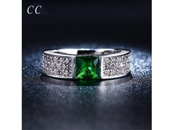 Green zirconia diamond square shape rings for women wedding party fashion