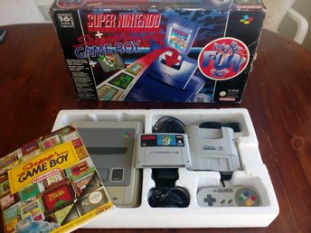 Super Nintendo Fun Set. SNES. Basenhet, Super Mario World, Super Game Boy. PAL.