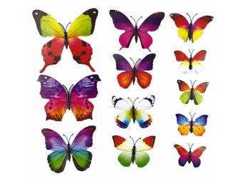 12 st 3D Fjärilar - Väggdekor Med Magnet / Häftkudde - Nasugbu - 12 st 3D Fjärilar - Väggdekor Med Magnet / Häftkudde - Nasugbu