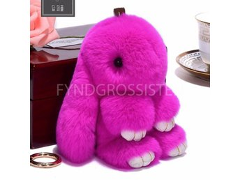 Fluffy Big Bunny Faux Rabbit Fur Nyckelring Keychain Rose Fri Frakt Ny