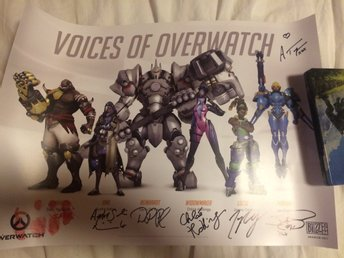 Voices of Overwatch signerad poster autografer Blizzard Blizzcon 2017 50x35 cm