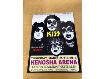 KISS RUSH KENOSHA ARENA WI, 1975 PHOTO POSTER