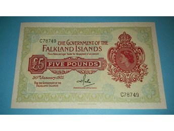 Falkland Islands ¤ £5 ¤ 1975 ¤ 5 digit ¤ QUEEN ELIZABETH
