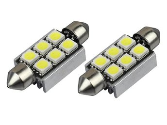 Spollampa 39mm Canbus Led 6st 5050SMD 12000K 2-pack C5W SV8.5  34:-