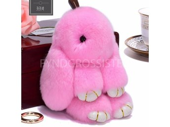 Fluffy Big Bunny Faux Rabbit Fur Nyckelring Keychain Pink Fri Frakt Ny