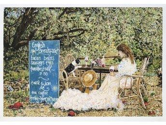 """Färglitografi i original av Caroline af Ugglas """"English breakfast"""" - Stockholm - Färglitografi i original av Caroline af Ugglas """"English breakfast"""" - Stockholm"""