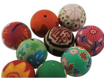 Polymer Clay Beads 10mm - 10 st
