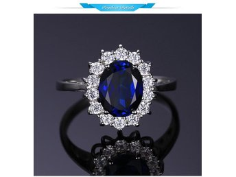 GemStoneKing  Ct Oval Blue Sapphire Ring 925 Sterling Silver Necklas