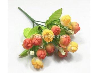 Konstgjord silkeblomma 15 huvuden små rosor Heminredning bukett Fri