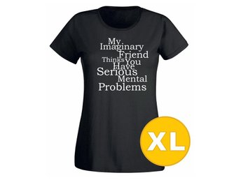 T-shirt My Imaginary Friend Svart Dam tshirt XL