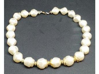 5f6393b594dd Retro smycke bijouteri halsband stora oregelbundna pärlor med gulddekor  mellan