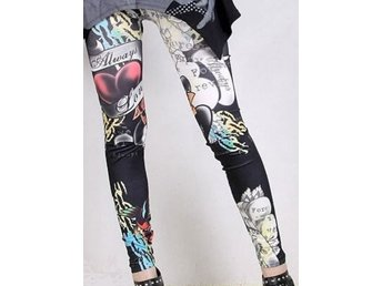 Leggings Tights Look Tattoo Svart Elastisk Rock Punk Goth Raggare S 36 34