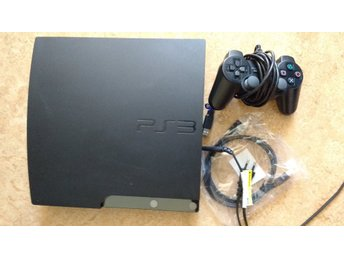 PlayStation 3/PS3 Slim 120GB + 5 spel - med handkontroll & kablage HDMI