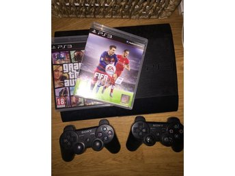 PS3 Slim, 2 kontroller, FIFA 16 och GTA 5