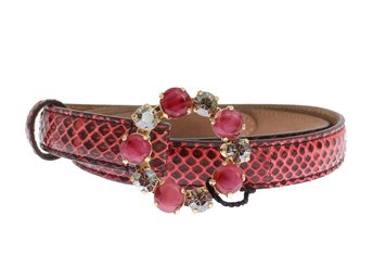 Dolce & Gabbana - Red Snakeskin Crystal Buckle Belt
