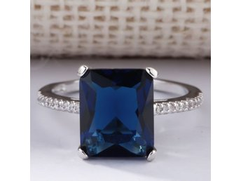 HELT NYTT!! RING ÄKTA SILVER 925 Huge Natural 3.5Ct Tanzanite 925 Silver Ring