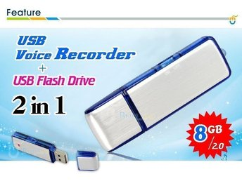 8GB Flash Memory Stick + Mini USB Digital Voice Recorder Röstinspelare