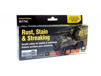 Vallejo 70183 Rust, Stain & Streaking, 8 Color Set-17 ml.