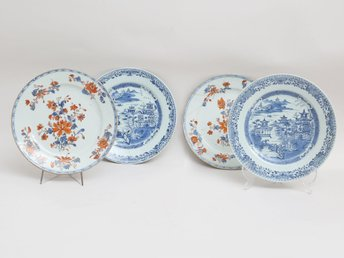 4 st Famille Rose & Blue and white Plates - Kina- Qianlong 1736-1795