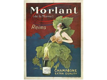 CHAMPAGNE MORLANT DE LA MARNE REIMS EXTRA QUALITY 1920 Jugend Lyx Poster A2