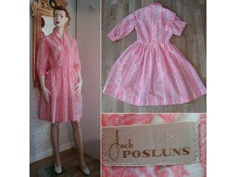 Vintage retro rosa och vitmönstrad klänning veckad kjol Jack Posluns 60 tal