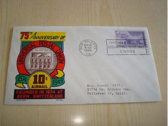75th Anniversary of Universal Postal Union 1949 USA förstadagsbrev