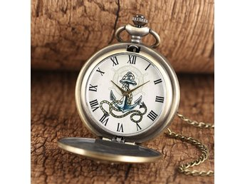 SEAMANS ANCHOR QUARTZ POCKET WATCH FICKUR with LONG & SHORT CHAIN  LAST ONE !
