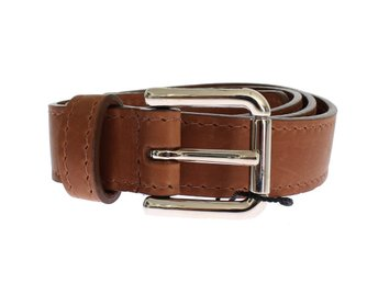 Dolce & Gabbana - Brown Leather Silver Buckle Logo Wide Belt