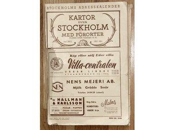 Karta Over Stockholm Med Fororter 1950 393651222 ᐈ Kop Pa Tradera