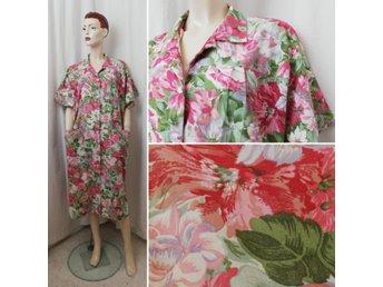 Vintage Retro storblommig städ rocks klänning rosa grön kort ärm