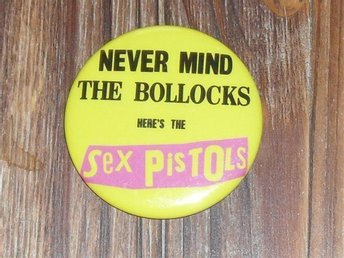 SEX PISTOLS - STOR Badge / Pin / Knapp (Punk,1977, Bollocks, Virgin, Rotten, Sid
