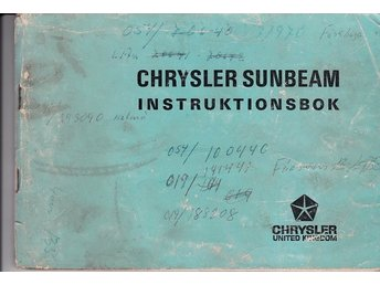 Chrysler Sunbeam 1976 ?  instruktionsbok