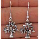 HELT NYA!! ÖRHÄNGEN 925 Silver Plated Hook- 1.5'' Vintage Tree Leaves Women