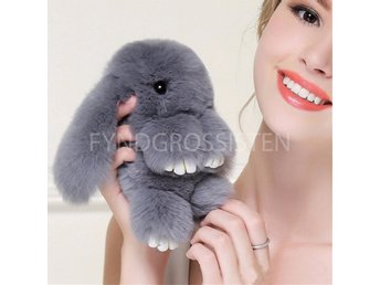 Fluffy Big Bunny Faux Rabbit Fur Nyckelring Keychain Gray Fri Frakt Ny